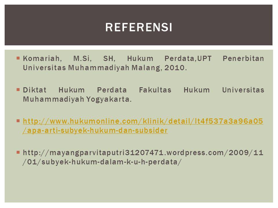 Referensi Komariah, M.Si, SH, Hukum Perdata,UPT Penerbitan Universitas Muhammadiyah Malang, 2010.