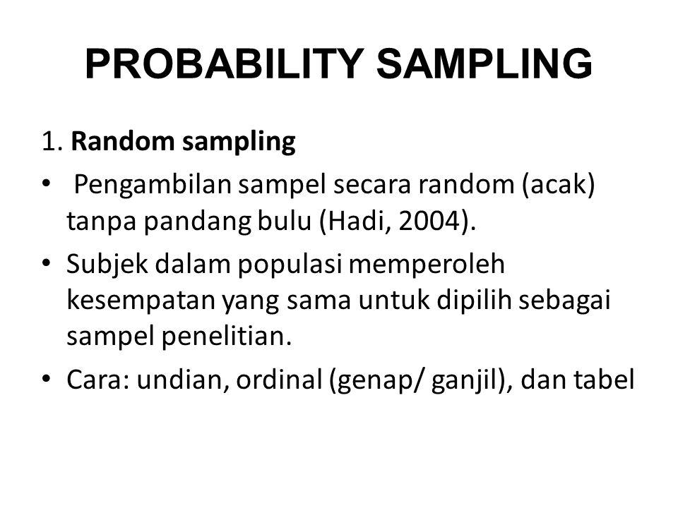 PROBABILITY SAMPLING 1. Random sampling
