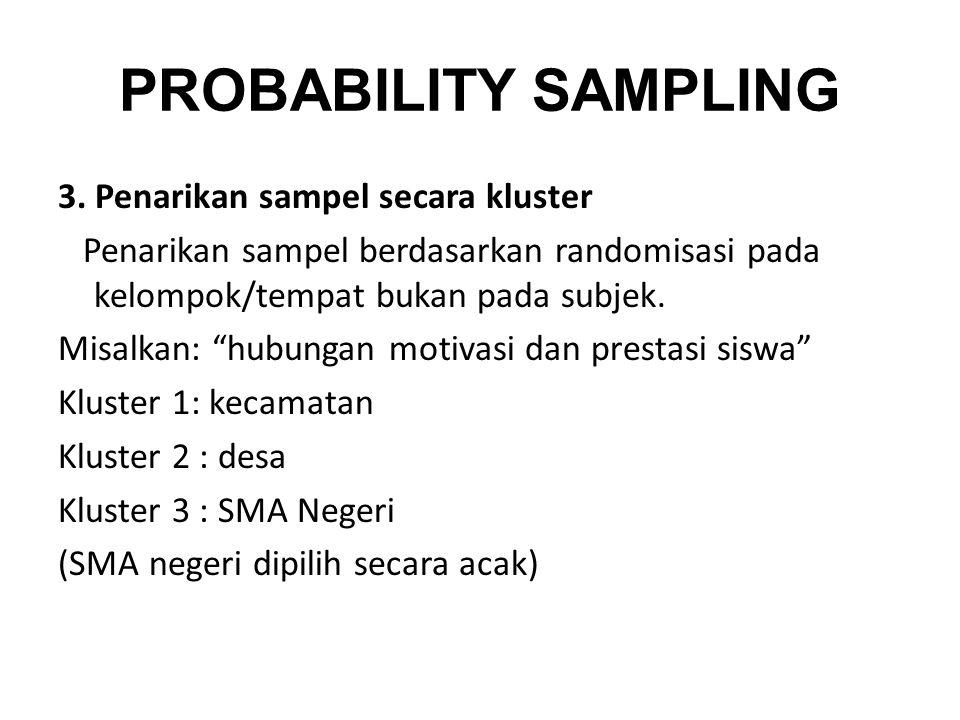 PROBABILITY SAMPLING 3. Penarikan sampel secara kluster
