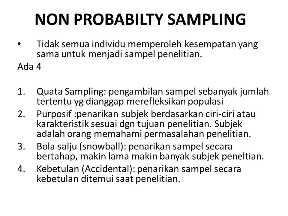 NON PROBABILTY SAMPLING