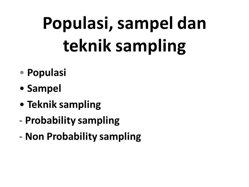 Populasi, sampel dan teknik sampling