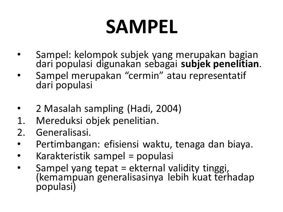 SAMPEL Sampel: kelompok subjek yang merupakan bagian dari populasi digunakan sebagai subjek penelitian.