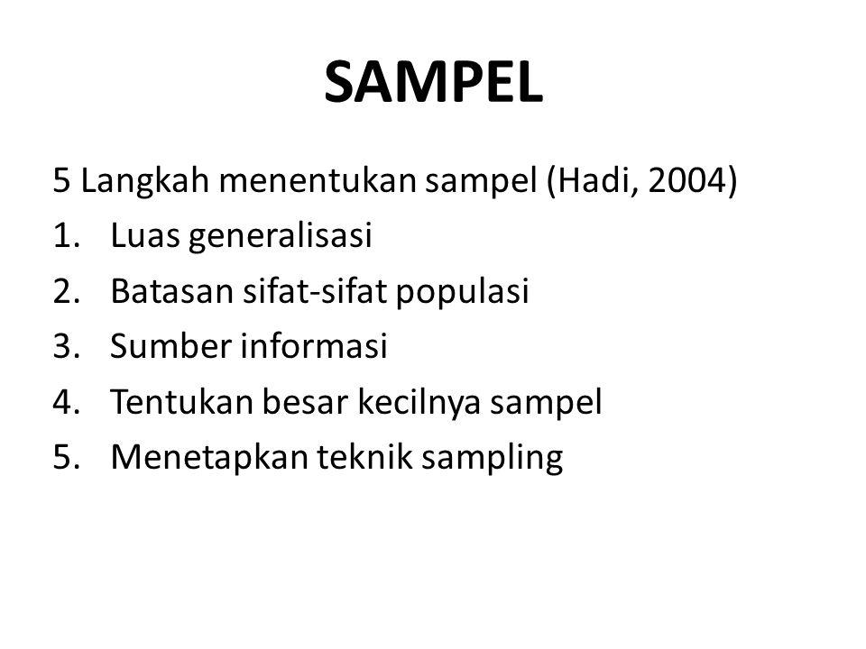 SAMPEL 5 Langkah menentukan sampel (Hadi, 2004) Luas generalisasi