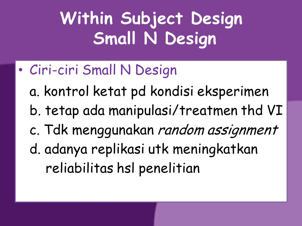 Within Subject Design Small N Design
