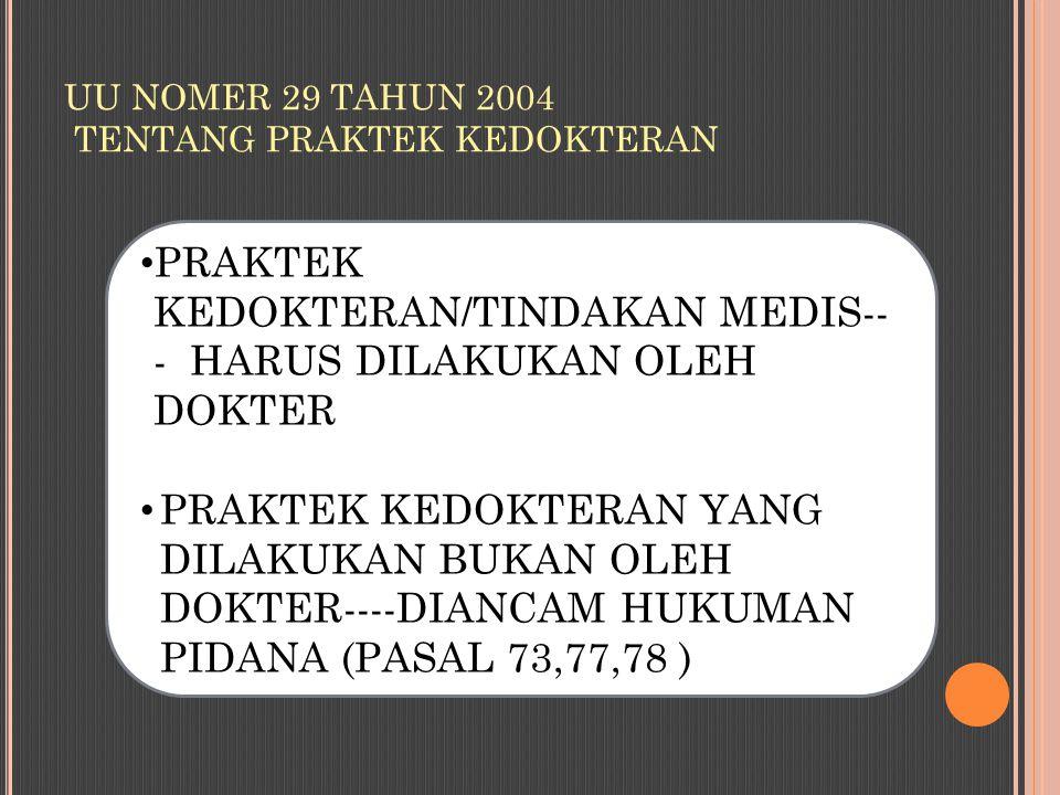 UU NOMER 29 TAHUN 2004 TENTANG PRAKTEK KEDOKTERAN
