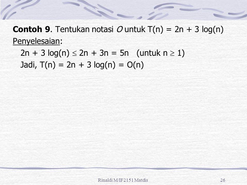 Contoh 9. Tentukan notasi O untuk T(n) = 2n + 3 log(n) Penyelesaian: