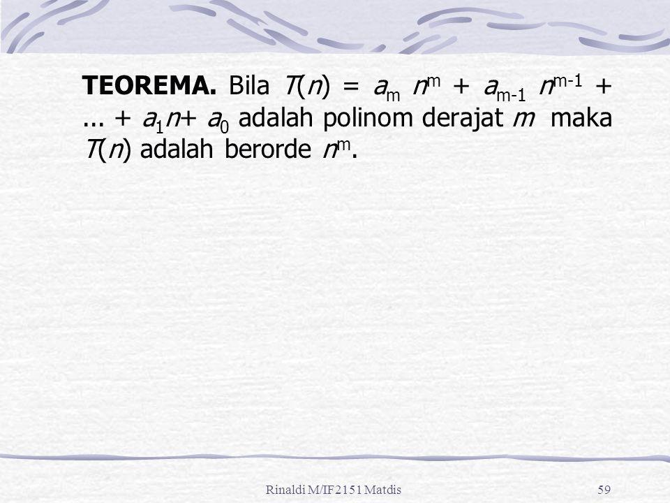 TEOREMA. Bila T(n) = am nm + am-1 nm-1 +