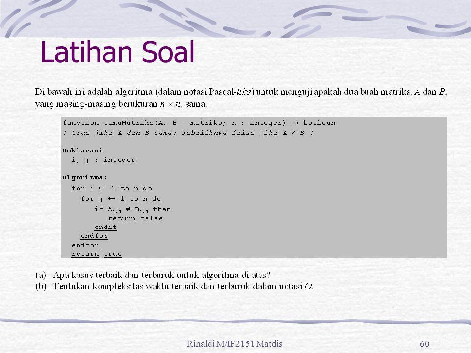 Latihan Soal Rinaldi M/IF2151 Matdis