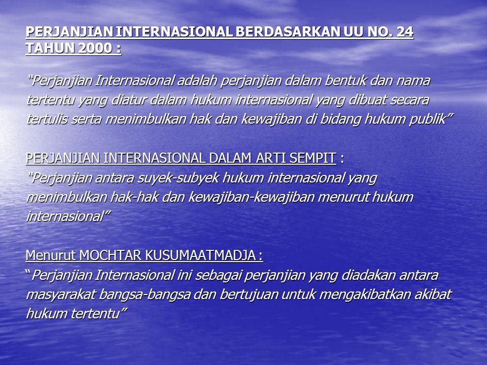 PERJANJIAN INTERNASIONAL BERDASARKAN UU NO. 24 TAHUN 2000 :