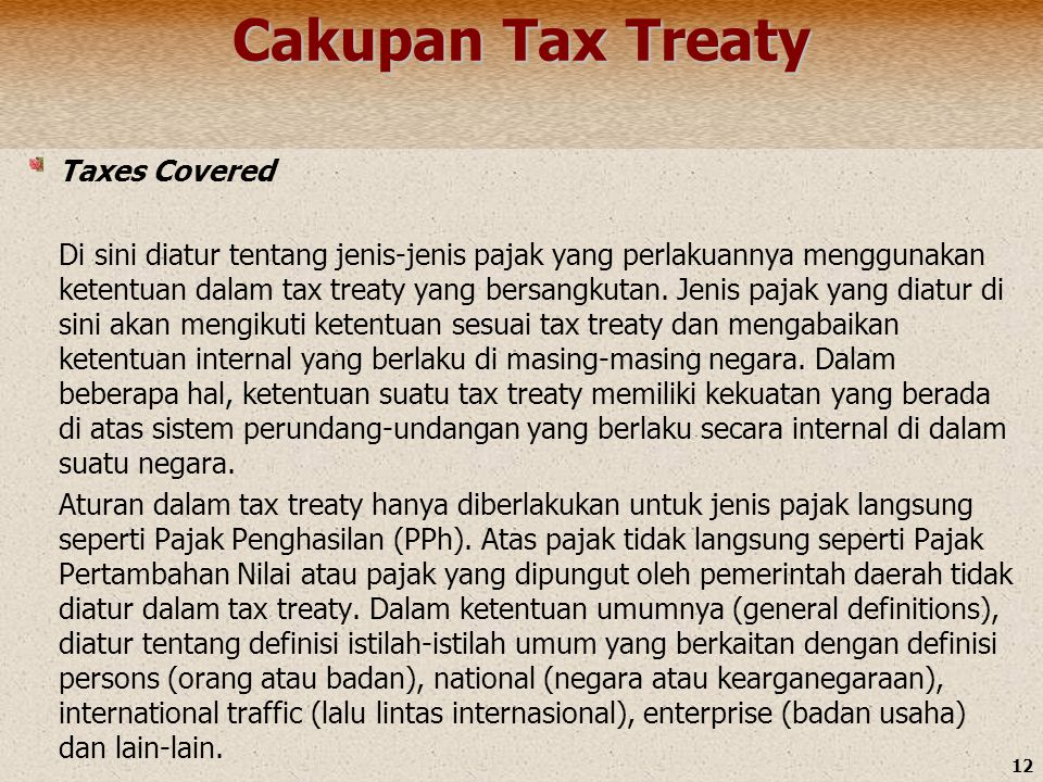 Cakupan Tax Treaty Taxes Covered