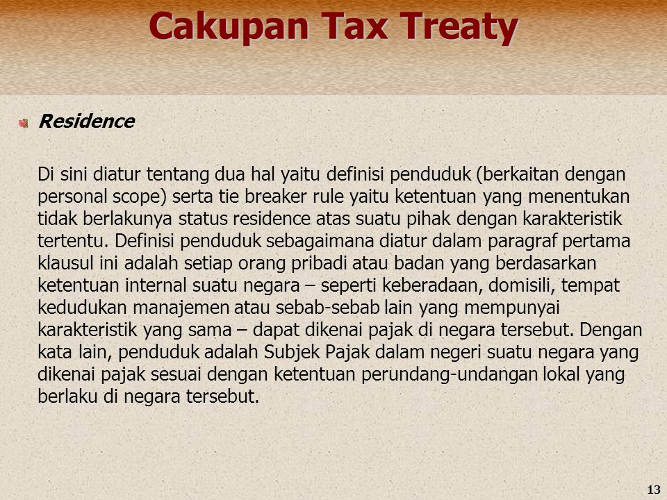 Cakupan Tax Treaty Residence