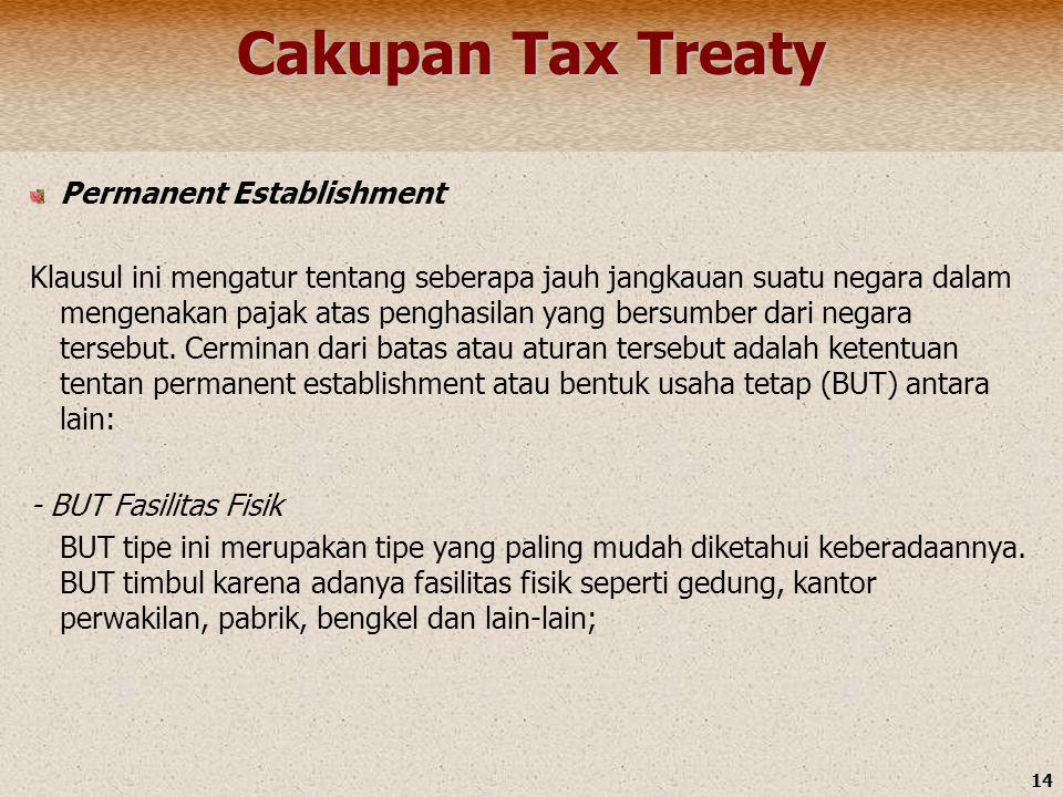 Cakupan Tax Treaty Permanent Establishment