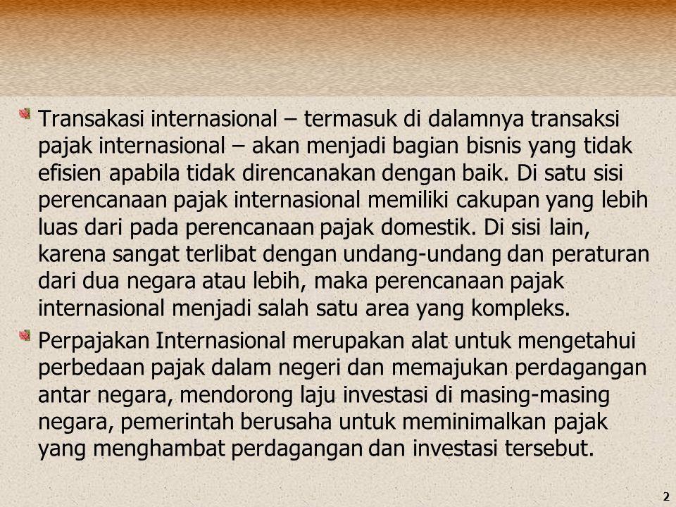 Transakasi internasional – termasuk di dalamnya transaksi pajak internasional – akan menjadi bagian bisnis yang tidak efisien apabila tidak direncanakan dengan baik. Di satu sisi perencanaan pajak internasional memiliki cakupan yang lebih luas dari pada perencanaan pajak domestik. Di sisi lain, karena sangat terlibat dengan undang-undang dan peraturan dari dua negara atau lebih, maka perencanaan pajak internasional menjadi salah satu area yang kompleks.