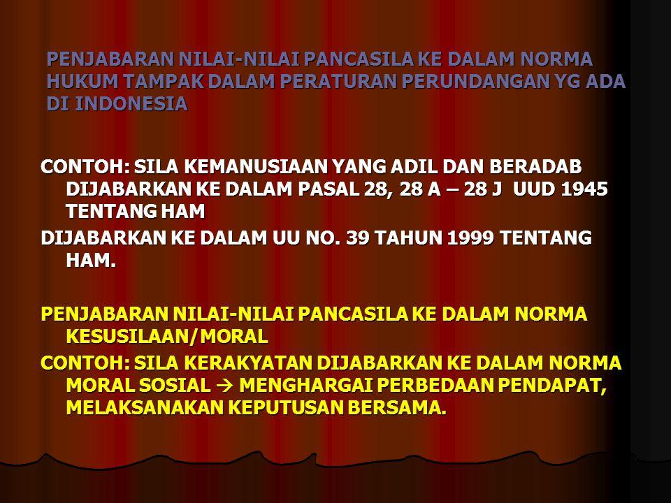 PENJABARAN NILAI-NILAI PANCASILA KE DALAM NORMA HUKUM TAMPAK DALAM PERATURAN PERUNDANGAN YG ADA DI INDONESIA