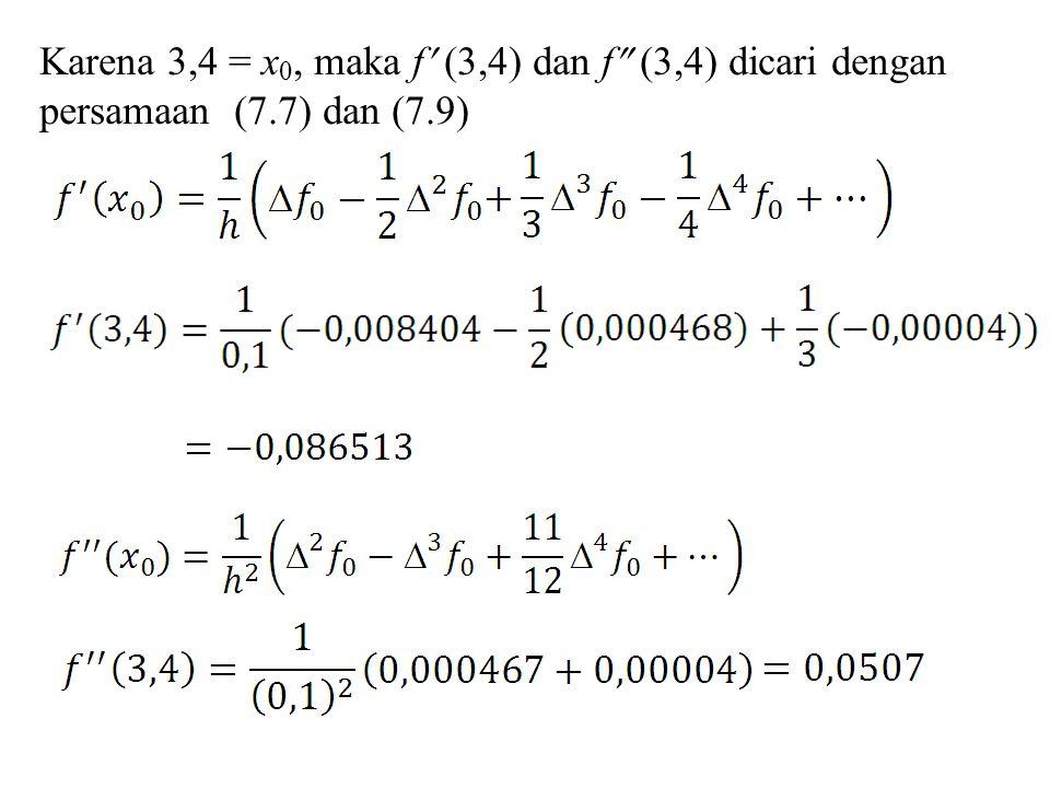 Karena 3,4 = x0, maka f (3,4) dan f (3,4) dicari dengan