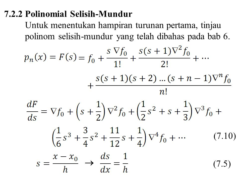 7.2.2 Polinomial Selisih-Mundur