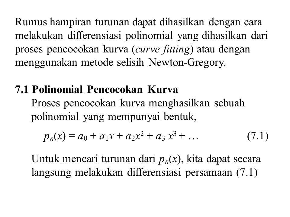 Rumus hampiran turunan dapat dihasilkan dengan cara melakukan differensiasi polinomial yang dihasilkan dari proses pencocokan kurva (curve fitting) atau dengan menggunakan metode selisih Newton-Gregory.