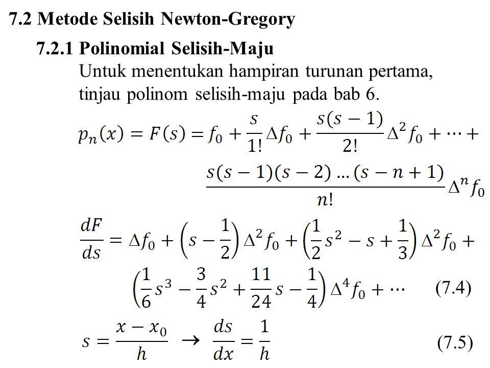 7.2 Metode Selisih Newton-Gregory