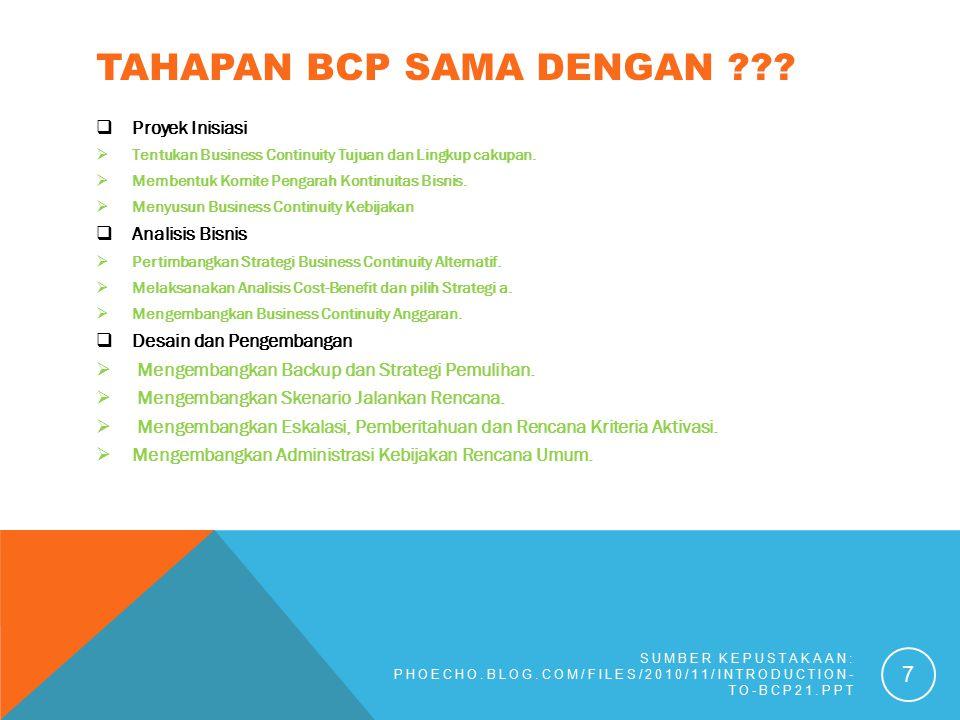 Tahapan BCP sama dengan