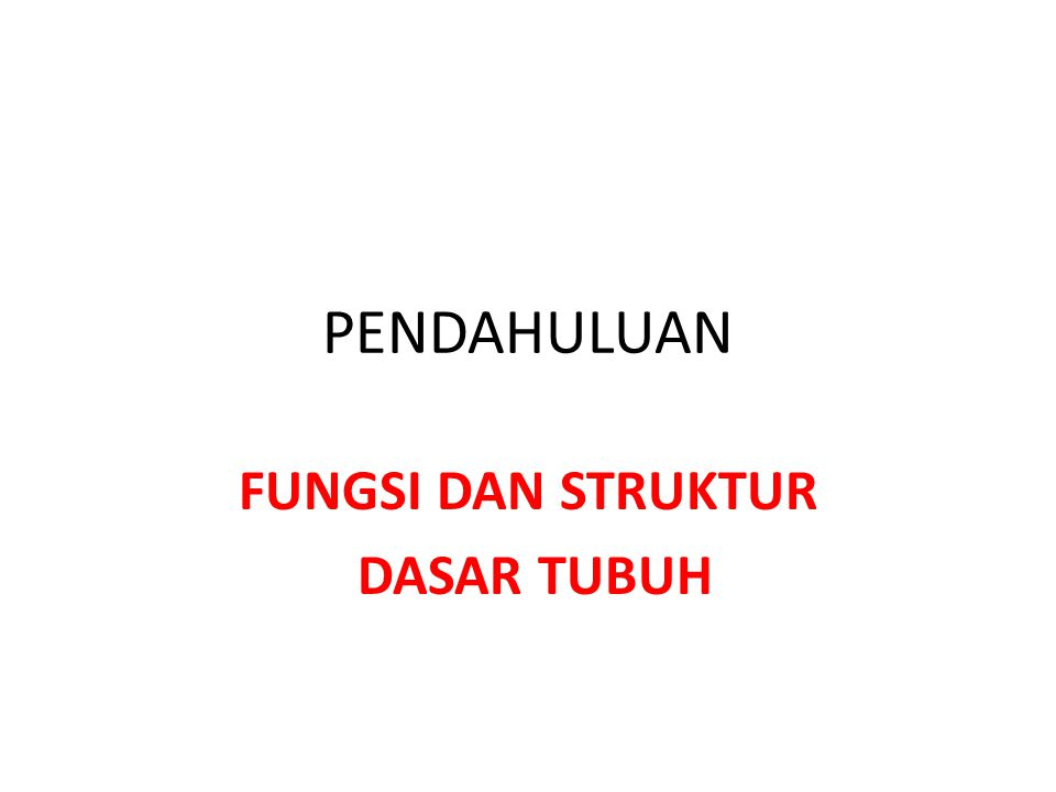 FUNGSI DAN STRUKTUR DASAR TUBUH