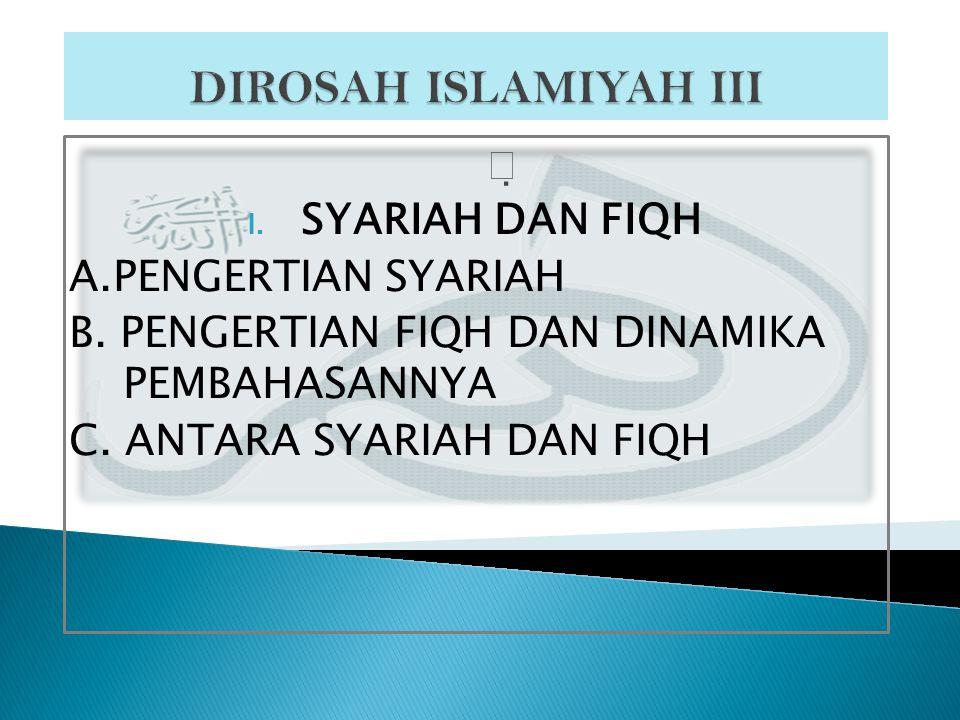 DIROSAH ISLAMIYAH III  SYARIAH DAN FIQH A.PENGERTIAN SYARIAH