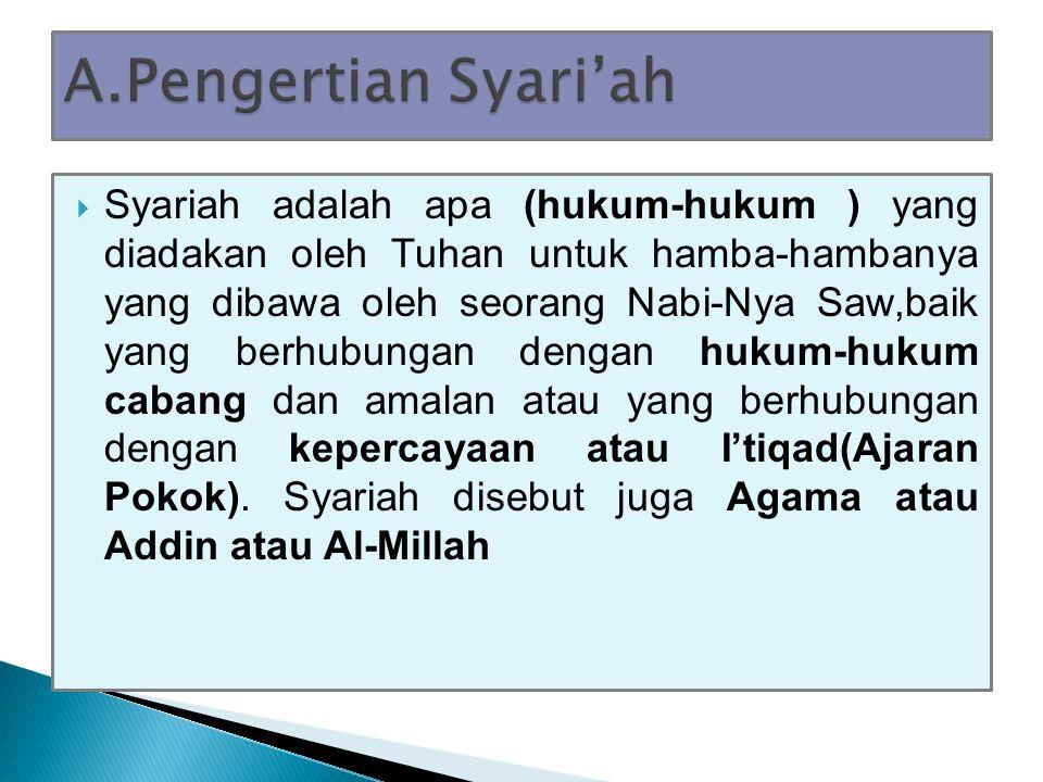 A.Pengertian Syari'ah