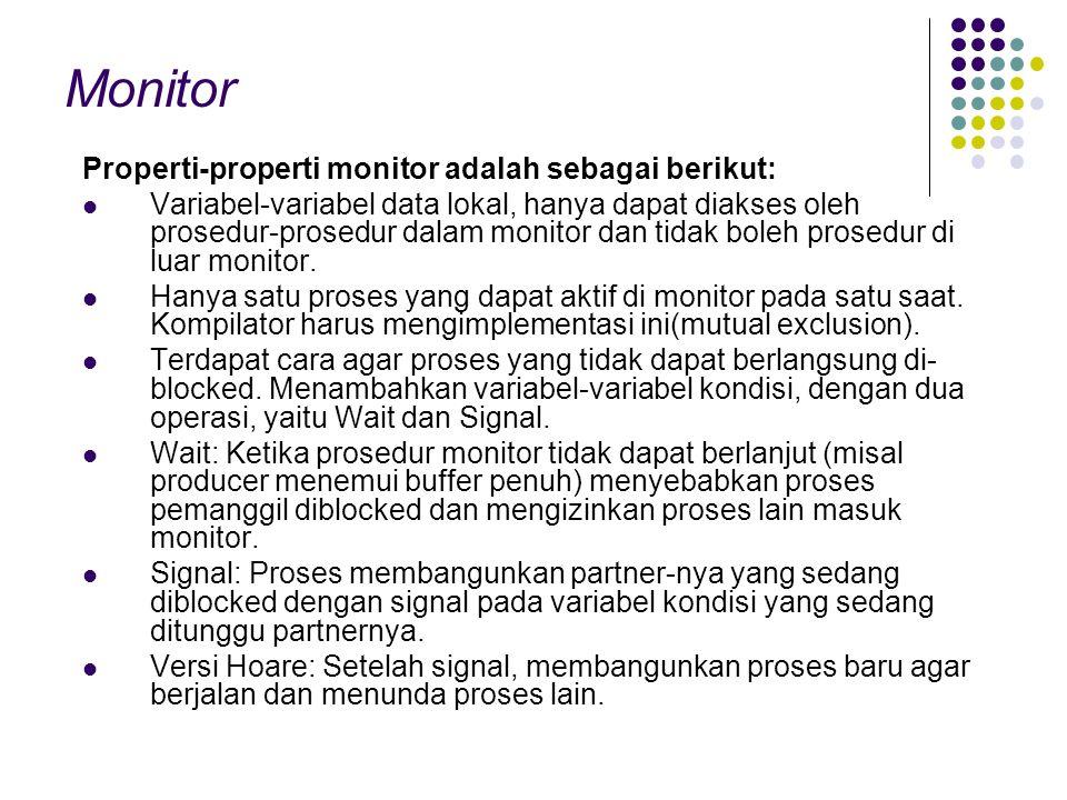Monitor Properti-properti monitor adalah sebagai berikut: