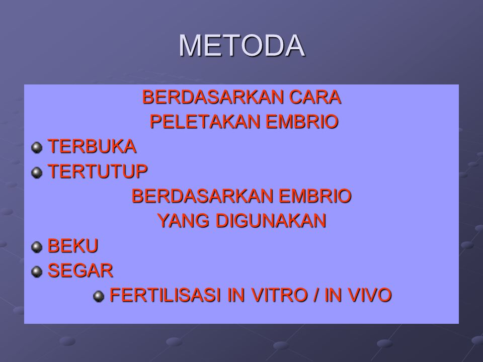 FERTILISASI IN VITRO / IN VIVO