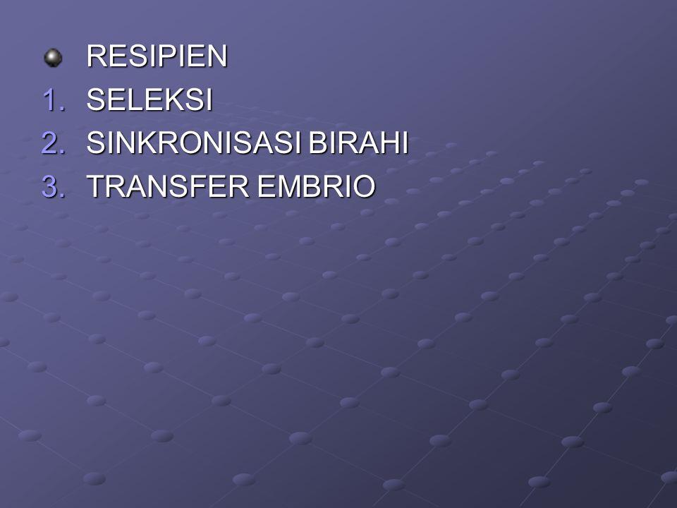 RESIPIEN SELEKSI SINKRONISASI BIRAHI TRANSFER EMBRIO