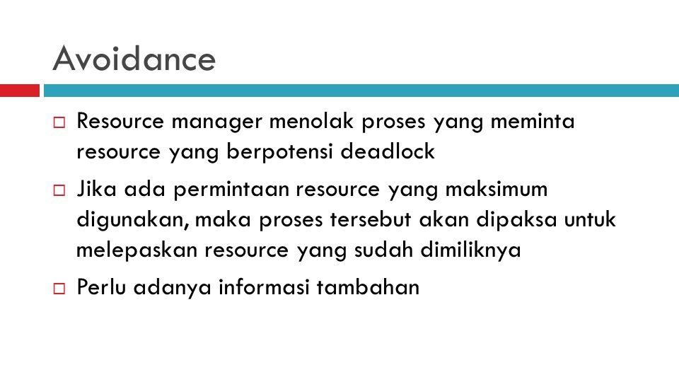 Avoidance Resource manager menolak proses yang meminta resource yang berpotensi deadlock.