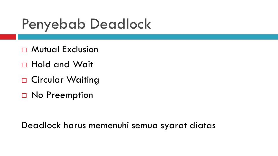Penyebab Deadlock Mutual Exclusion Hold and Wait Circular Waiting