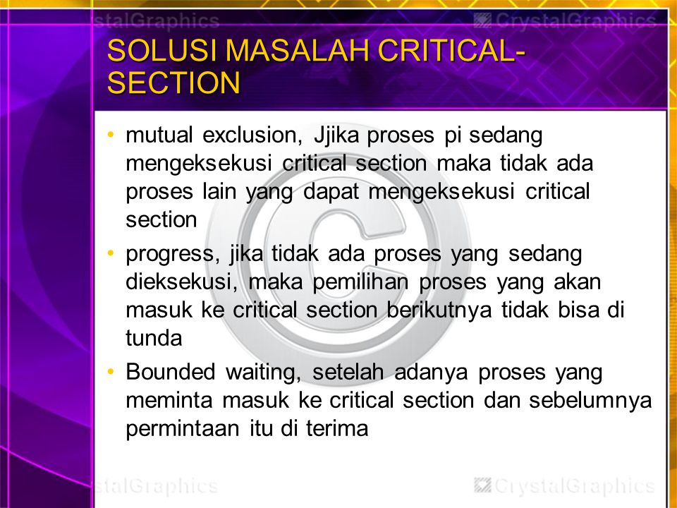 SOLUSI MASALAH CRITICAL-SECTION