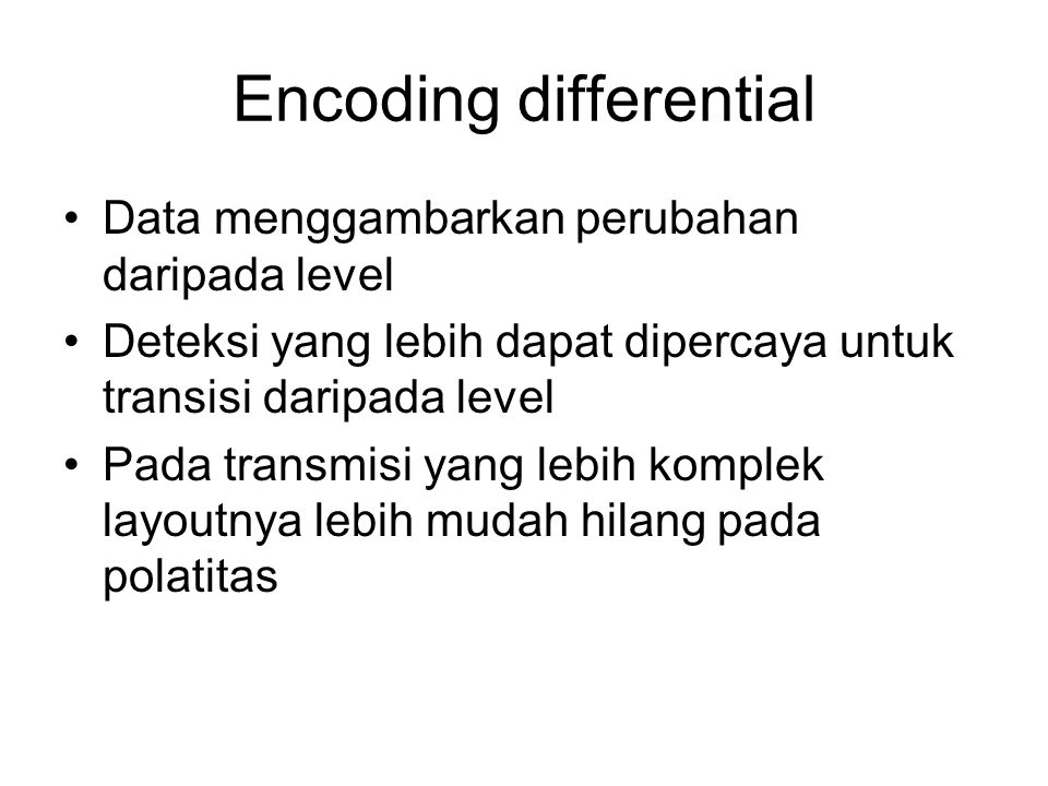 Encoding differential