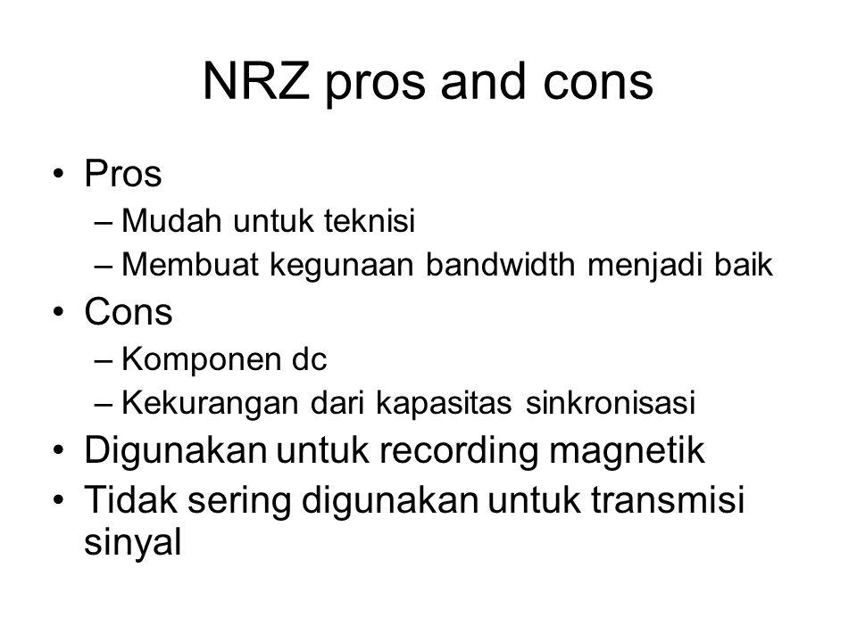NRZ pros and cons Pros Cons Digunakan untuk recording magnetik