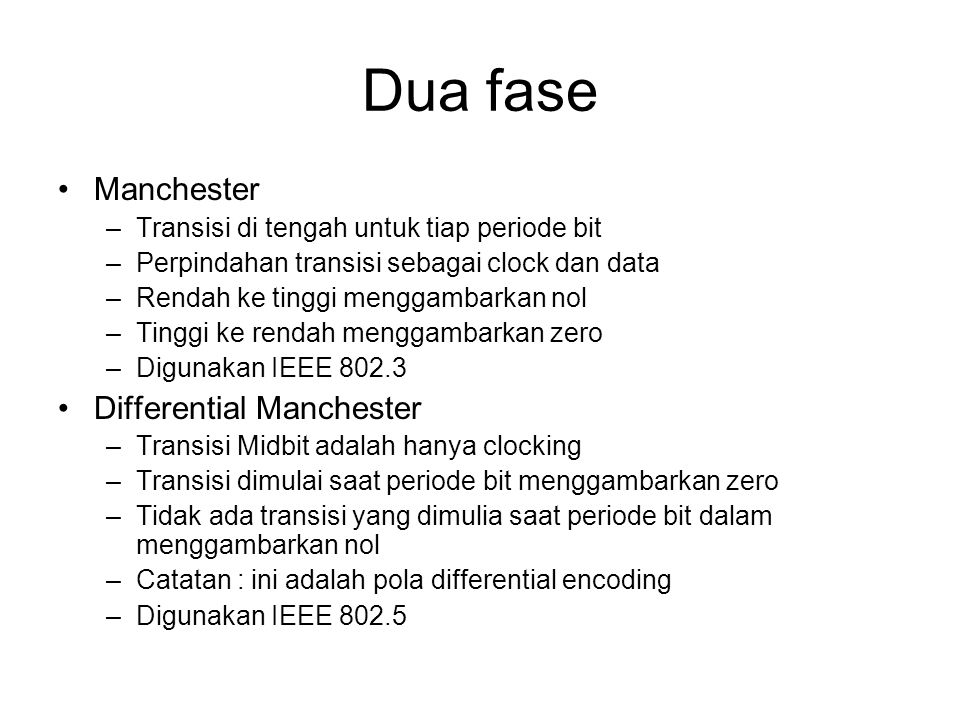 Dua fase Manchester Differential Manchester
