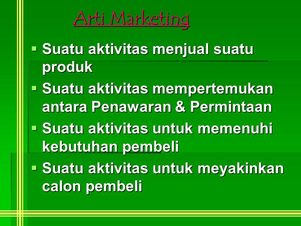 Arti Marketing Suatu aktivitas menjual suatu produk