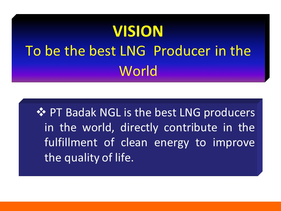 VISION To be the best LNG Producer in the World