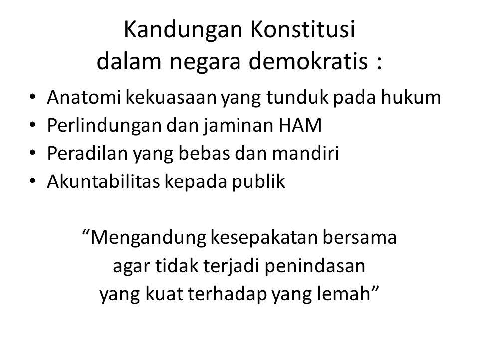 Kandungan Konstitusi dalam negara demokratis :