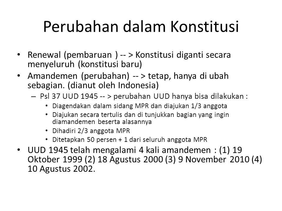 Perubahan dalam Konstitusi