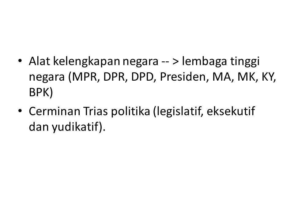 Alat kelengkapan negara -- > lembaga tinggi negara (MPR, DPR, DPD, Presiden, MA, MK, KY, BPK)