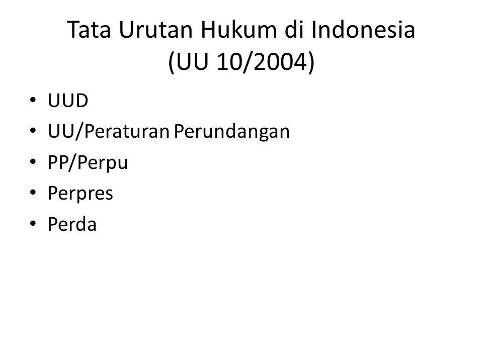 Tata Urutan Hukum di Indonesia (UU 10/2004)