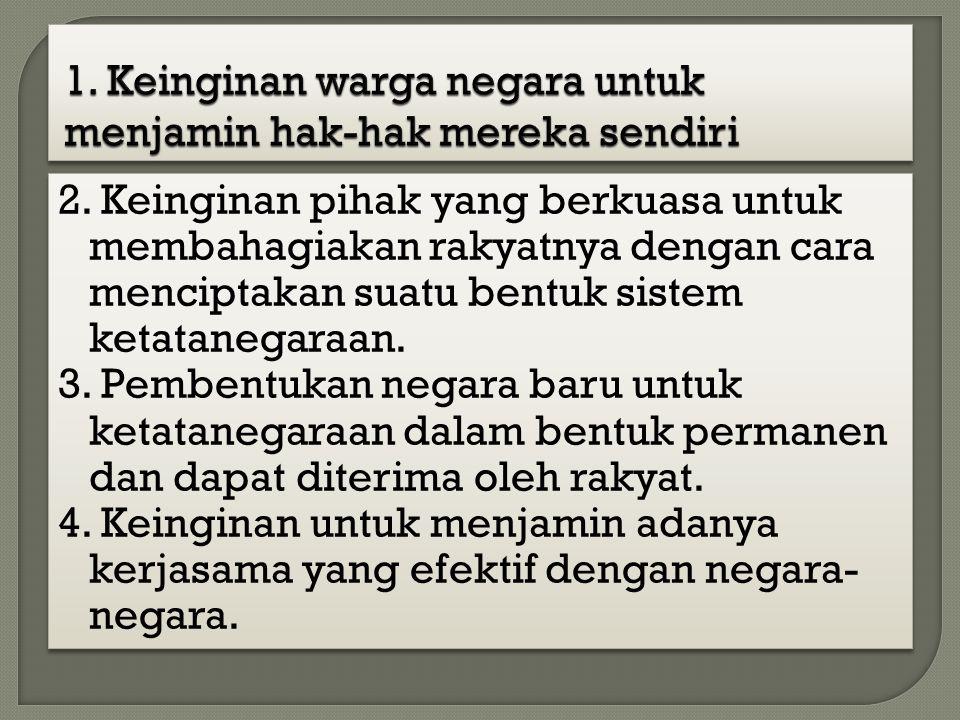 1. Keinginan warga negara untuk menjamin hak-hak mereka sendiri