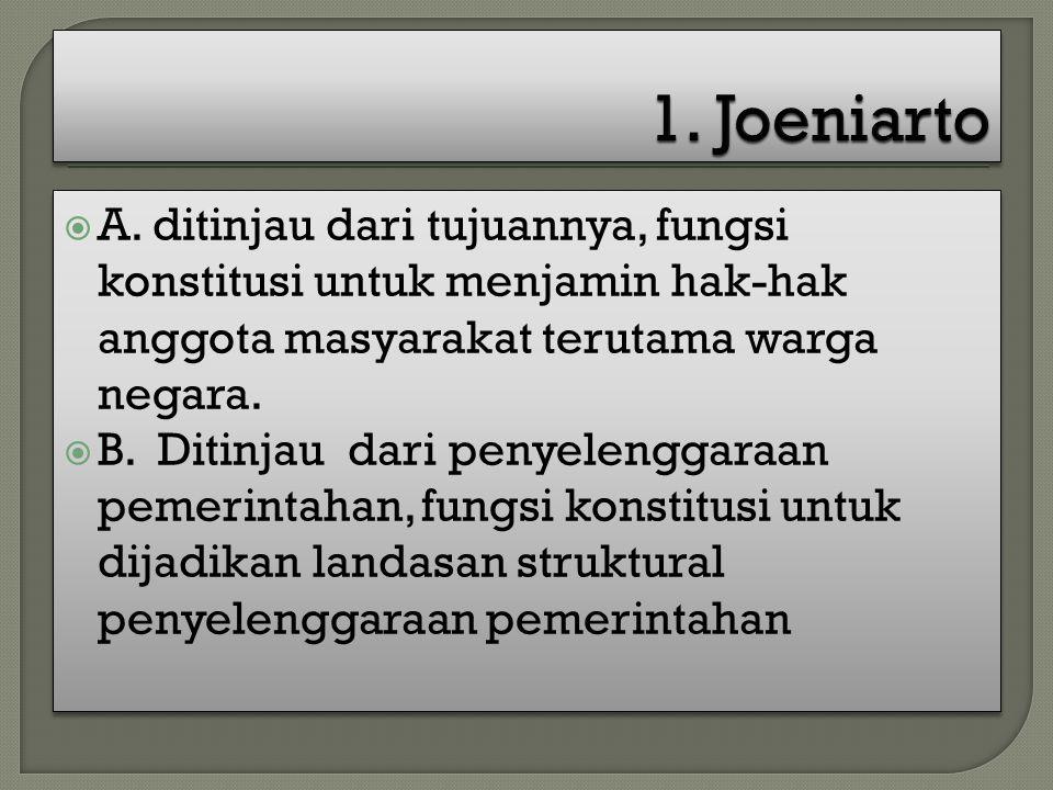 1. Joeniarto A. ditinjau dari tujuannya, fungsi konstitusi untuk menjamin hak-hak anggota masyarakat terutama warga negara.
