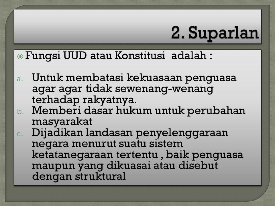 2. Suparlan Fungsi UUD atau Konstitusi adalah :