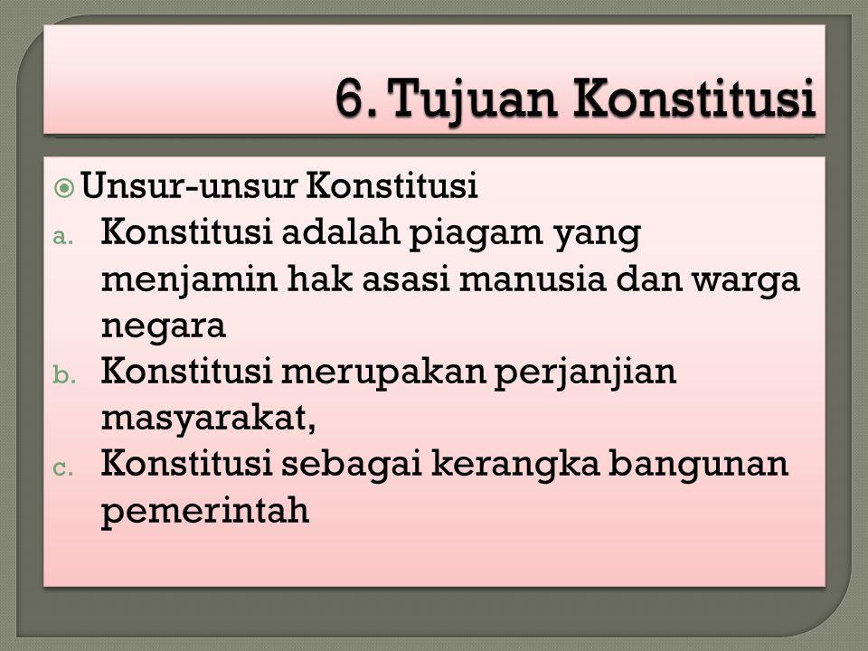6. Tujuan Konstitusi Unsur-unsur Konstitusi