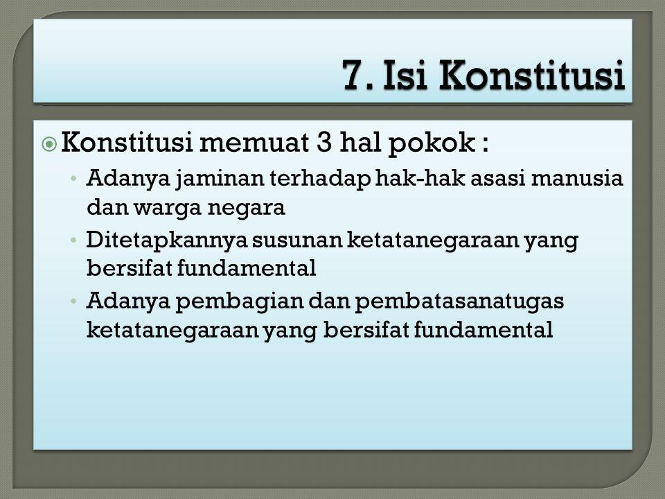 7. Isi Konstitusi Konstitusi memuat 3 hal pokok :