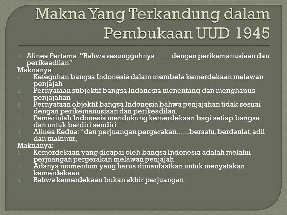 Makna Yang Terkandung dalam Pembukaan UUD 1945