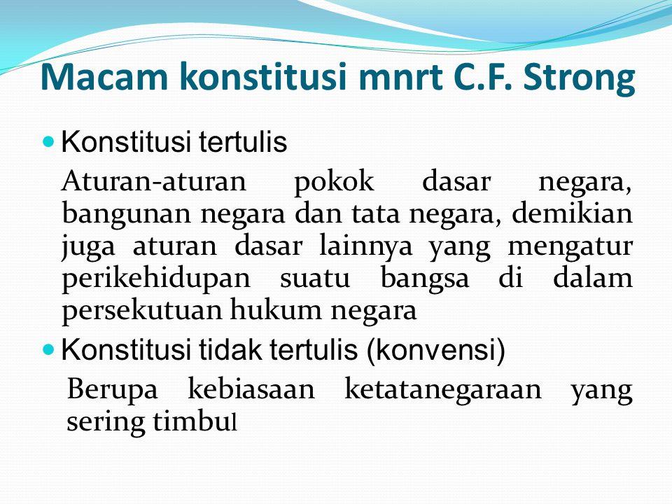 Macam konstitusi mnrt C.F. Strong