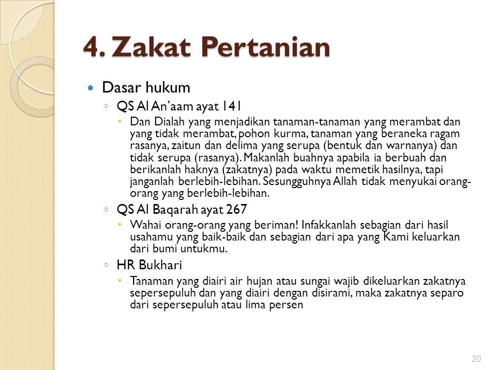 4. Zakat Pertanian Dasar hukum QS Al An'aam ayat 141
