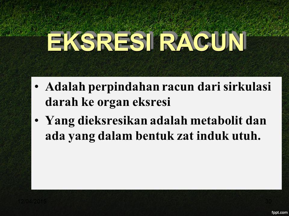 11/04/2017 EKSRESI RACUN. Adalah perpindahan racun dari sirkulasi darah ke organ eksresi.